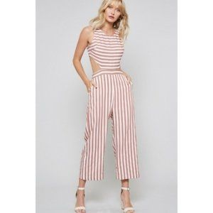 """""""'Weekend in Miami' Cutout Striped Jumpsuit"""
